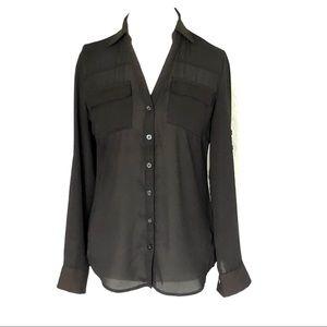 New York & CO. Black Convertible Shirt SZ S